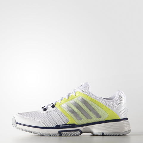 adidas Barricade Team 4 Women's Tennis Shoe (White/Yellow) - RacquetGuys