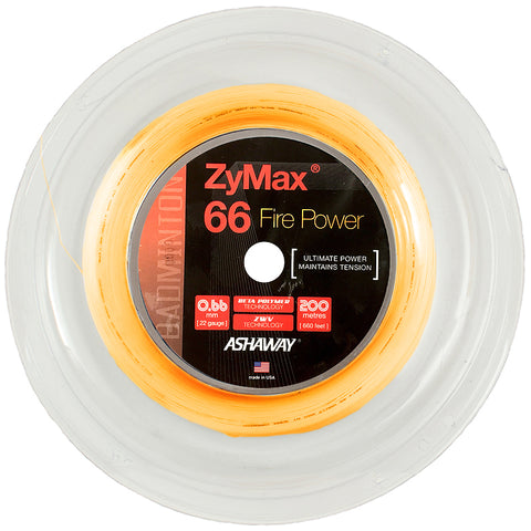 Ashaway Zymax 66 Fire Power Badminton String Reel (Orange)