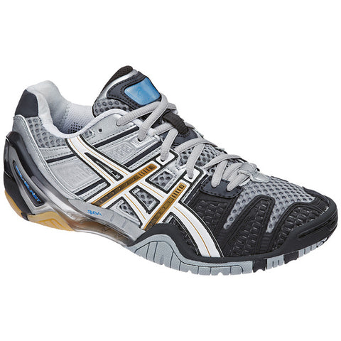 Asics Gel Blast 4 Women's Indoor Court Shoe (Charcoal/White/Gold) - RacquetGuys.ca