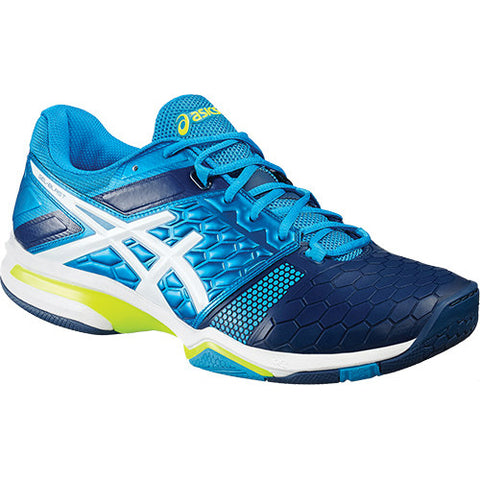 Asics Gel Blast 7 Mens Indoor Court Shoe (Blue/White/Yellow) - RacquetGuys