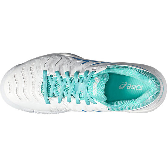 Asics Gel Challenger 11 Women's Tennis Shoe (White/Blue/Aqua) - RacquetGuys