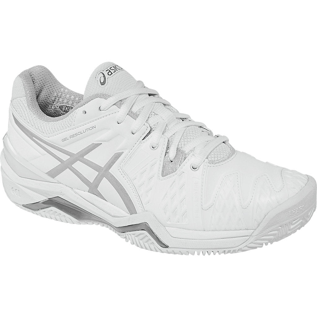 Asics Gel Resolution 6 Womens Clay Court Tennis Shoe (White Silver) a9f770417