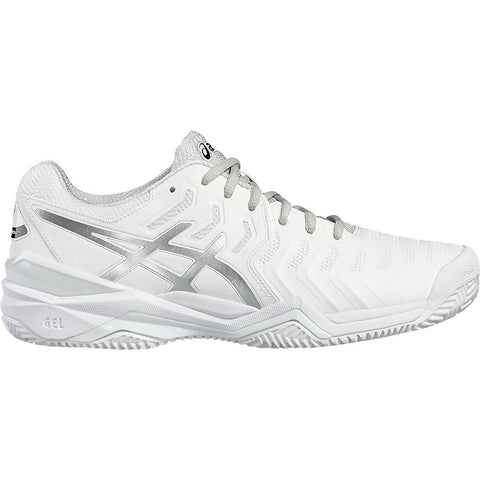 Asics Gel Resolution 7 Mens Clay Court Tennis Shoe (White/Silver) - RacquetGuys