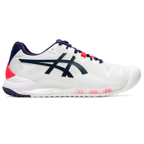 Asics Gel Resolution 8 Women's Tennis Shoe (White/Peacoat) - RacquetGuys