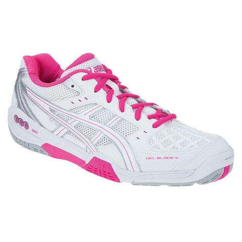 Asics Gel Blade 4 Womens Indoor Court Shoe (White/Pink) - RacquetGuys