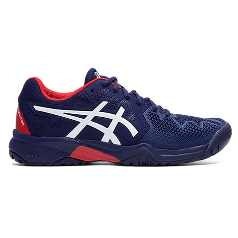 Asics Gel Resolution 8 GS Junior Tennis Shoe (Peacoat/Classic Red) - RacquetGuys.ca