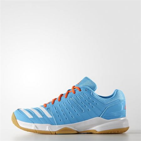 adidas Essence 12 Women's Indoor Court Shoe (Cyan Blue/White) - RacquetGuys