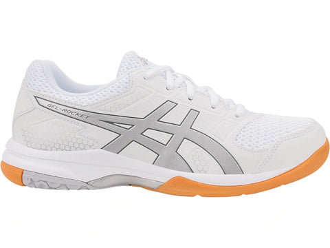 Asics Gel Rocket 8 Womens Indoor Court Shoe (White/Silver)