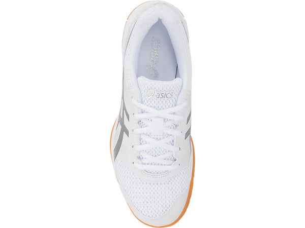 Asics Gel Rocket 8 Womens Indoor Court Shoe (White/Silver) - RacquetGuys