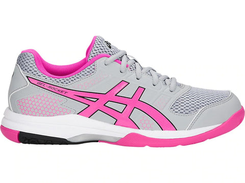 Asics Gel Rocket Womens Indoor Court Shoe (Mid Grey/Pink Glo) - RacquetGuys