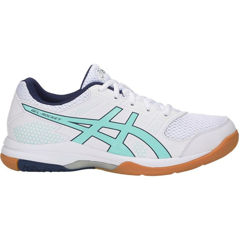 Asics Gel Rocket 8 Womens Indoor Court Shoe (White/Icy Morning) - RacquetGuys