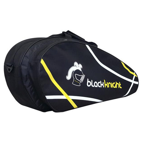 Black Knight Tournament 6 Pack Racquet Bag (Black/White) - RacquetGuys