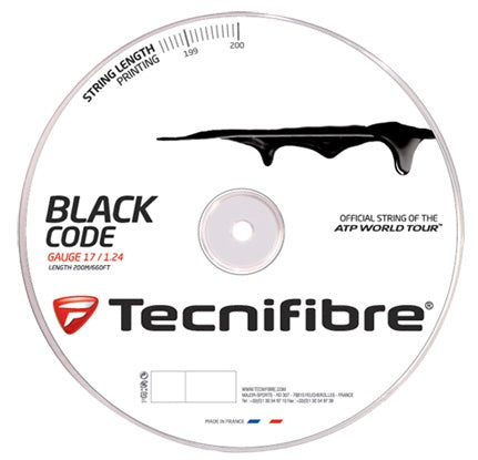 Tecnifibre Black Code 16 Tennis String Reel (Black)