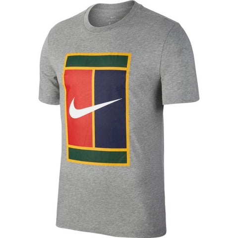 Nike Men's NikeCourt Heritage T-Shirt (Grey) - RacquetGuys
