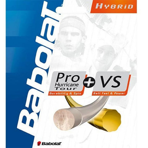 Babolat Pro Hurricane Tour 16 (Yellow) / Babolat VS Gut 16 (Natural) Hybrid Tennis String - RacquetGuys
