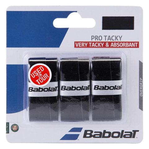 Babolat Pro Tacky Overgrip 3 Pack (Black) - RacquetGuys