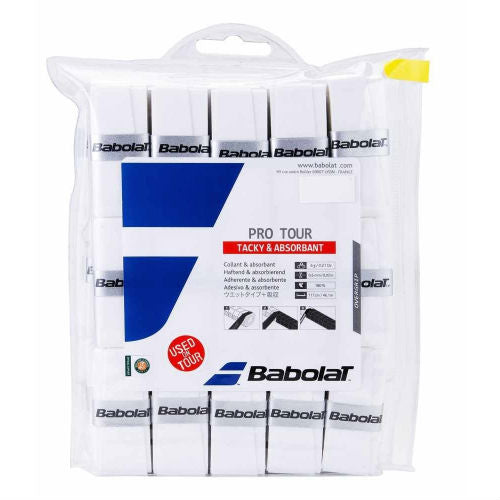 Babolat Pro Tour Overgrip 30 Pack (White) - RacquetGuys.ca
