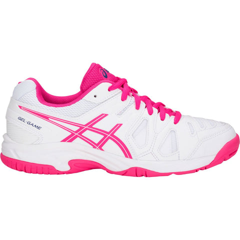 Asics Gel Game 5 Gs Junior Tennis Shoe (White/Pink Glo) - RacquetGuys.ca