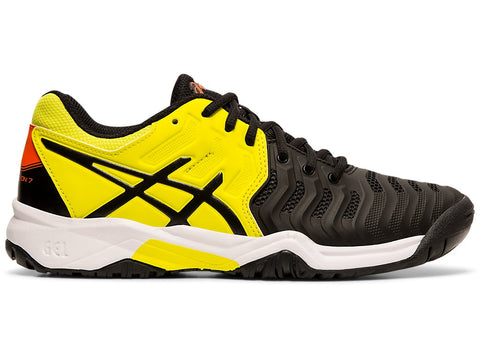 Asics Gel Resolution 7 Junior Tennis Shoe (Black/Sour Yuzu) - RacquetGuys.ca