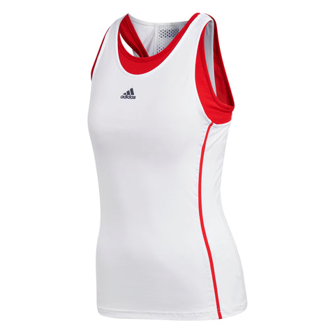 adidas Women Barricade Tank Top (White/Red) - RacquetGuys