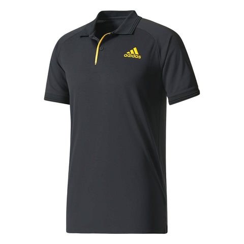 adidas Men's Barricade Polo (Black/Yellow) - RacquetGuys