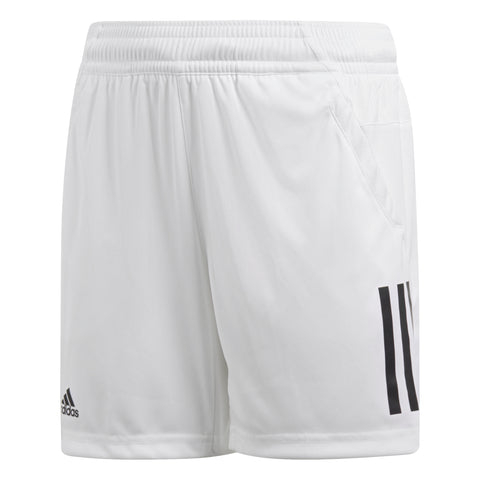 adidas Boy's 3-Stripes Club Shorts (White) - RacquetGuys