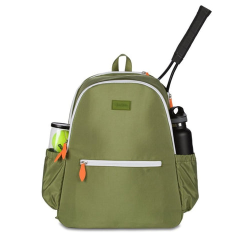 Ame & Lulu Courtside Tennis Backpack (Army Green) - RacquetGuys.ca