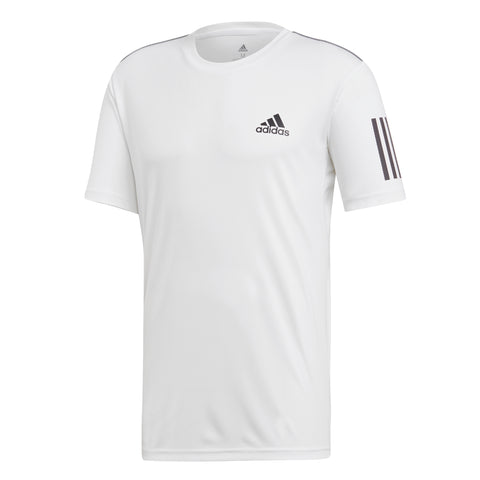 adidas Men's 3-Stripes Club Top (White/Black) - RacquetGuys