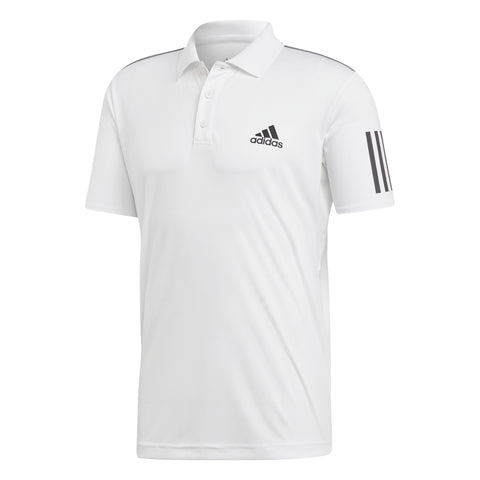 adidas Men's 3 Stripes Club Polo (White/Black) - RacquetGuys