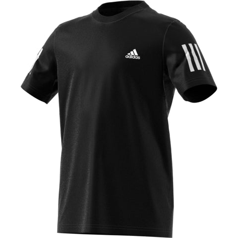 adidas Boy's 3-Stripes Club Top (Black/White) - RacquetGuys