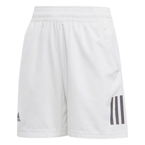 adidas Boy's 3 Stripes Club Shorts (White/Black) - RacquetGuys.ca