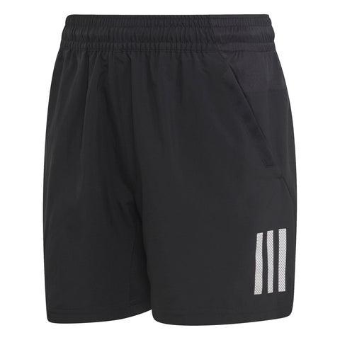 adidas Boy's 3-Stripes Club Shorts (Black/White) - RacquetGuys.ca