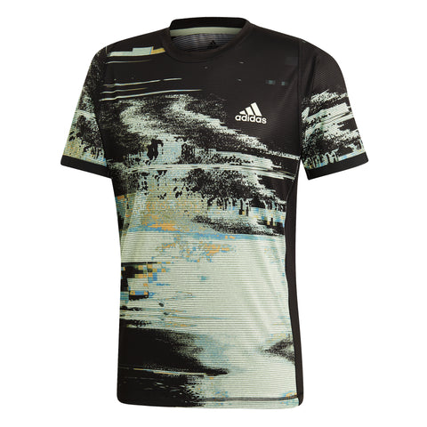 adidas Men's New York Printed Top (Black/Glow Green/Flash Orange) - RacquetGuys