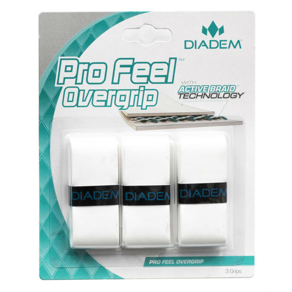 Diadem Pro Feel Overgrip 3 Pack (White) - RacquetGuys