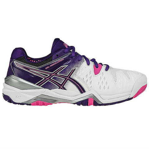 Asics Gel Resolution 6 Women's Tennis Shoe (White/Purple/Pink) - RacquetGuys