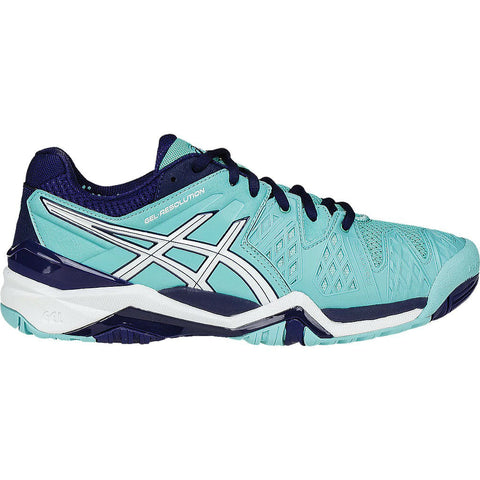 Asics Gel Resolution 6 Women's Tennis Shoe (Blue/White) - RacquetGuys