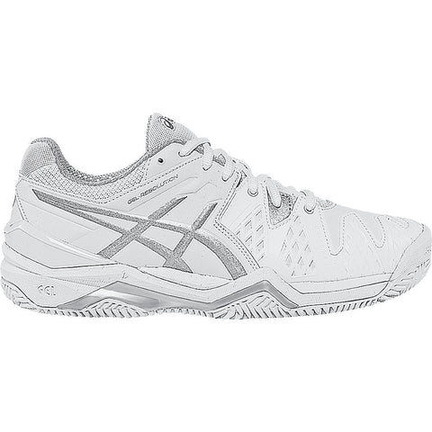 Asics Gel Resolution 6 Womens Clay Court Tennis Shoe (White/Silver) - RacquetGuys