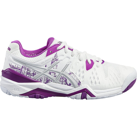 Asics Gel Resolution 6 Ltd. Ed. London Women's Tennis Shoe (White/Purple) - RacquetGuys