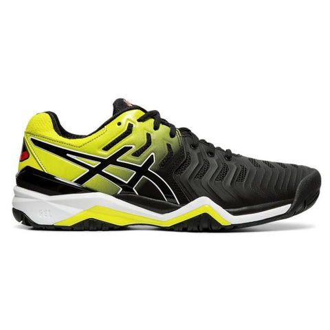 Asics Gel Resolution 7 Men's Tennis Shoe (Black/Sour Yuzu) - RacquetGuys