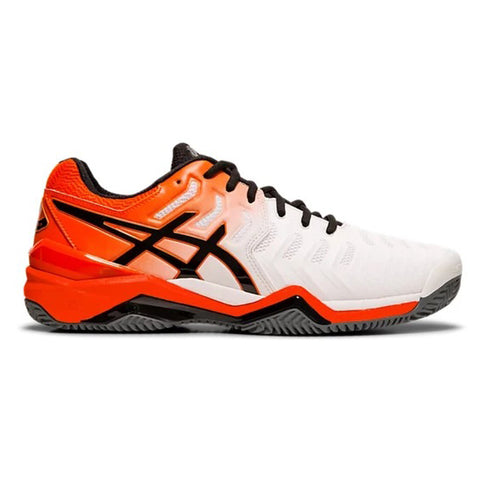 Asics Gel Resolution 7 Men's Clay Tennis Shoe (White/Koi) - RacquetGuys