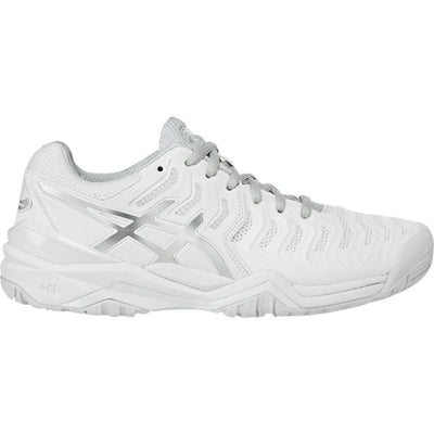 Asics Gel Resolution 7 Womens Tennis Shoe (White/Silver)