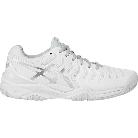 Asics Gel Resolution 7 Womens Tennis Shoe (White/Silver) - RacquetGuys