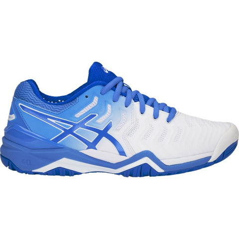 Asics Gel Resolution 7 Women's Tennis Shoe (White/Blue) - RacquetGuys.ca