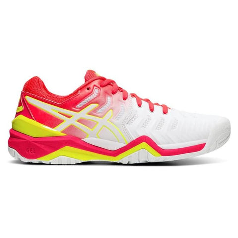 Asics Gel Resolution 7 Women's Tennis Shoe (White/Laser Pink) - RacquetGuys.ca