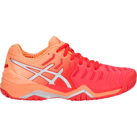 Asics Gel Resolution 7 Womens Tennis Shoe (Red Alert/Silver)