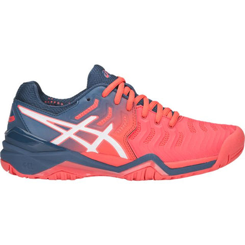 Asics Gel Resolution 7 Womens Tennis Shoe (Papaya/White) - RacquetGuys