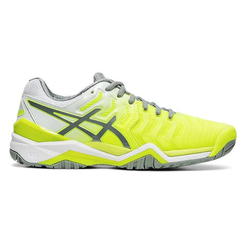 Asics Gel Resolution 7 Women's Tennis Shoe (Safety Yellow/Stone Green) - RacquetGuys