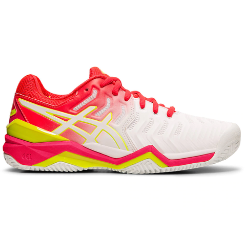 Asics Gel Resolution 7 Clay Court Women's Tennis Shoe (White/Laser Pink) - RacquetGuys