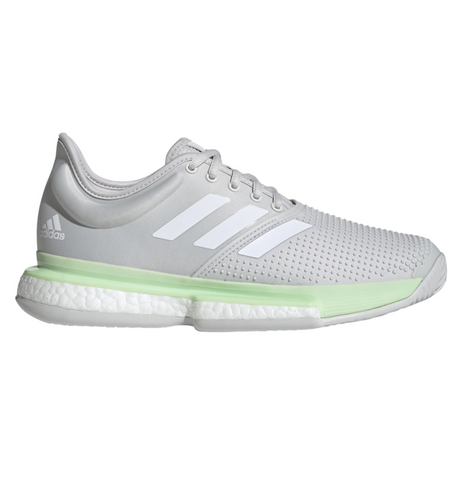 adidas SoleCourt Boost Women's Tennis Shoe (Glow Green/Cloud White/Grey One) - RacquetGuys.ca