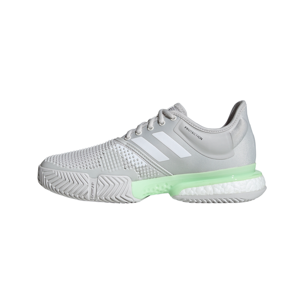 adidas SoleCourt Boost Women's Tennis Shoe (Glow Green/Cloud White/Grey One) - RacquetGuys